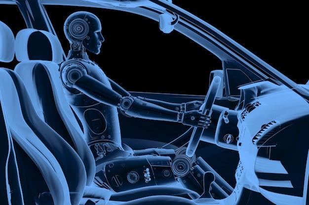 Crashtest mit 3d-rendering-röntgen-dummy im auto