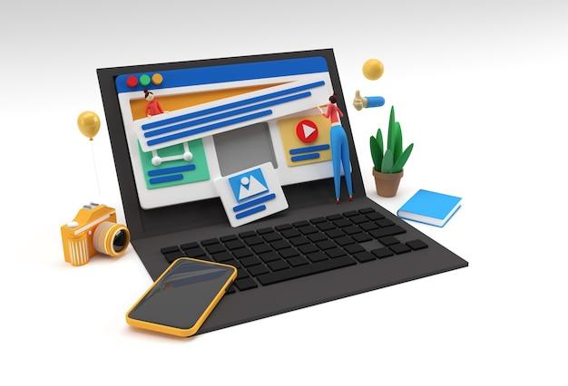 Creative 3d render mobile mockup mit laptop-webentwicklungsbanner, marketingmaterial