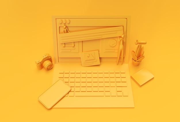 Creative 3d render mobile mockup mit laptop-webentwicklungsbanner,