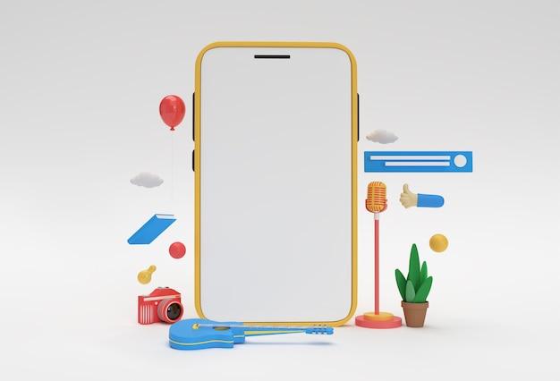 Creative 3d render mobile mockup webentwicklungsbanner, marketingmaterial, präsentation, online-werbung.