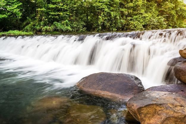 Creek falls und rock im wald