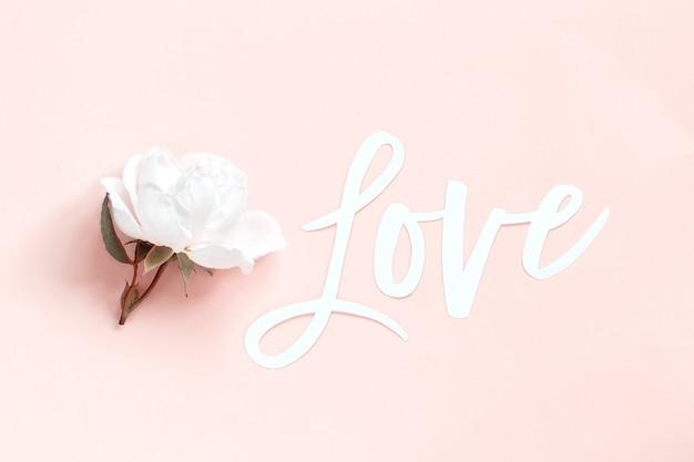 Creme rose und text liebe auf einer hellrosa hintergrund draufsicht