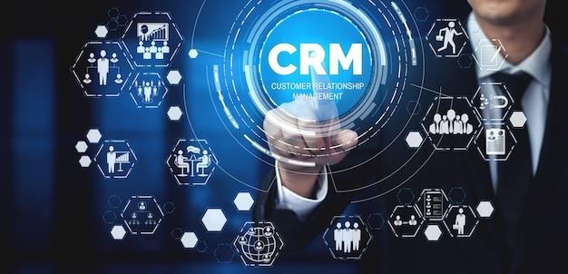 Crm customer relationship management für business sales marketing systemkonzept