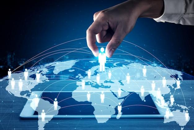 Crm-konzept für personennetzwerk, personalwesen und kundenbeziehungsmanagement
