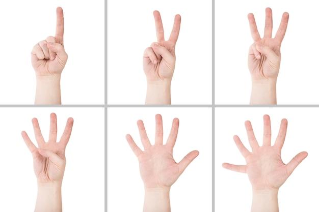 Crop hände zählen bis sechs