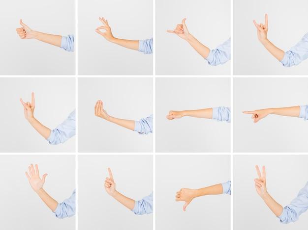 Crop hände zeigen verschiedene gesten
