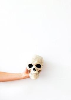 Crop hand mit menschlichem schädel