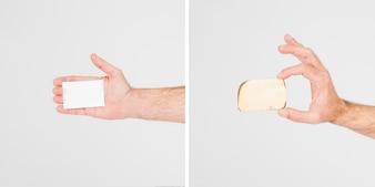Crop Hände zeigen Visitenkarten