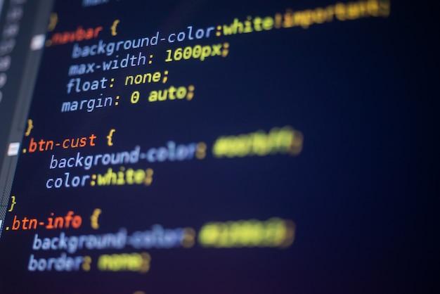 Css-stylesheet auf einem bildschirm, programmierkonzept