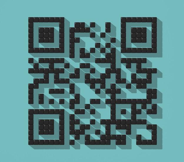 Cube abstrakter qr-code mit schatten auf einem bunten türkisfarbenen hintergrund. 3d-rendering