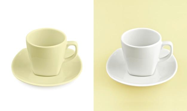 Cup auf weißem u. gelbem hintergrund