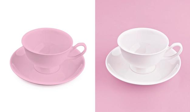 Cup auf weißem u. rosafarbenem hintergrund