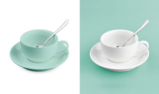 Cup auf weißem u. türkishintergrund