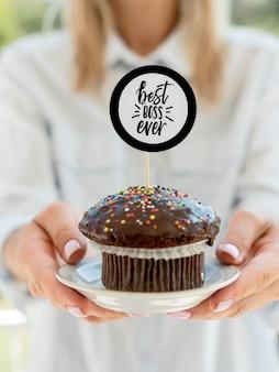 Cupcake mit der besten bossnachricht aller zeiten