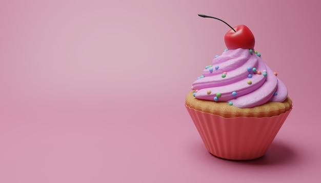 Cupcake mit erdbeer-topping-creme und kirsche