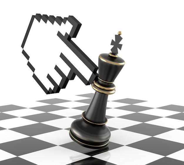 Cursor-hand und besiege den schachkönig. dreidimensionales rendering