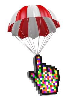 Cursor-hand und fallschirm. digital erzeugtes 3d-bild.