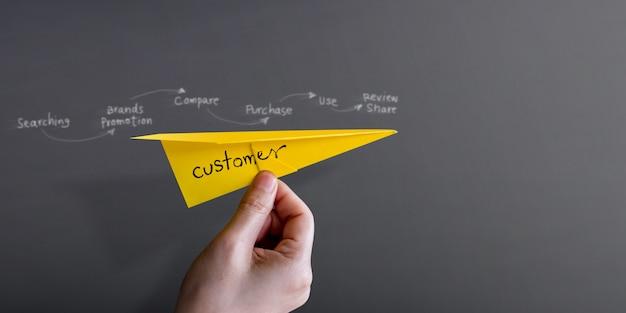 Customer journey und erlebniskonzept. hand heben ein papierflugzeug gegen wand