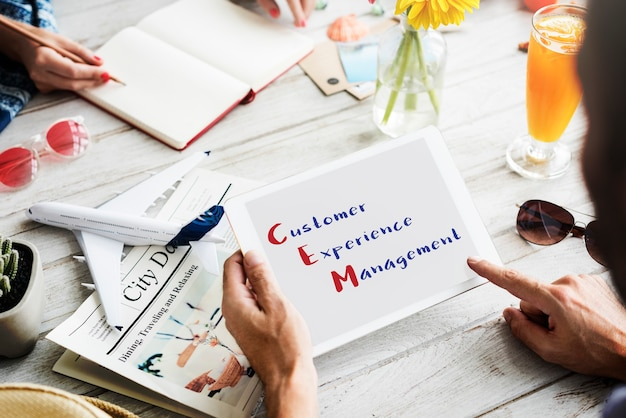 Customer management experience meeting-konzept