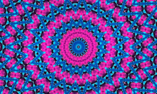 Cyan-blume auf rosa sternhintergrund. detaillierte tapete mit vielen kreisen, quadraten und dekorativen blumen in reihen und spalten in rosa und einer leuchtenden exotischen blume, stern in der mitte in cyanfarbe.