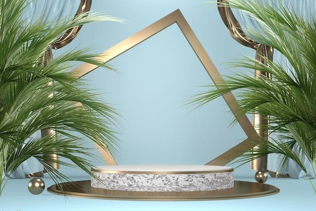 Cyan tropical granit podium geometrische und pflanzendekoration auf schwarzem hintergrund .3d-rendering