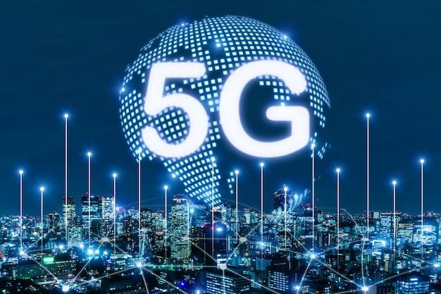 Cyber. globale medienverbindung, die auf nachtstadthintergrund, digital, internet, kommunikation, cyber-technologie, geschwindigkeitsinternet, vernetzung, smart city, partnerschaft, netzwerkverbindung, technologiekonzept verbindet