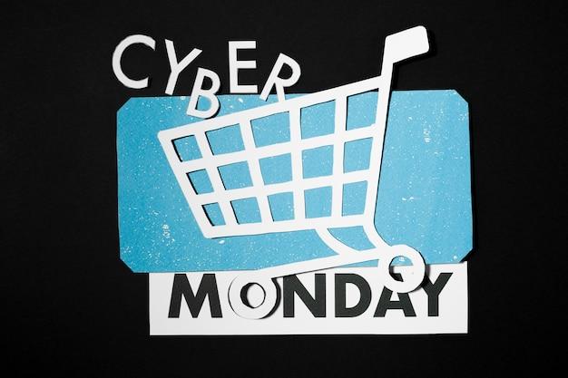 Cyber monday angebot auf blauem papier decke