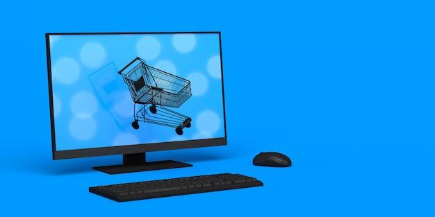 Cyber monday banner hintergrund mit computer und online-warenkorb textfreiraum