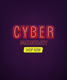 Cyber montag banner mit neon text effekt