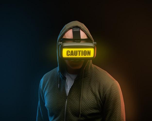 Cyber-montag-konzept. mann in vr-brille