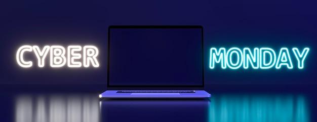 Cyber-montag-symbol mit laptop