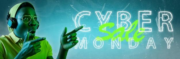 Cyber-montag, verkauf. modernes design. zeitgenössische kunstcollage.