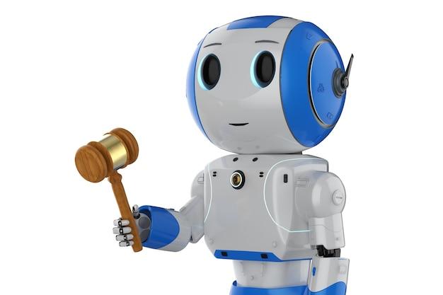Cyber-rechtskonzept mit 3d-rendering-mini-roboterhand, die hammerrichter isoliert hält