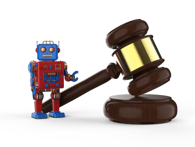 Cyber-rechtskonzept mit 3d-rendering-roboter-blechspielzeug mit hammerrichter auf weißem hintergrund