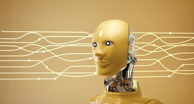 Cyber robot ai head set mit elektrischem lichtstromhintergrund