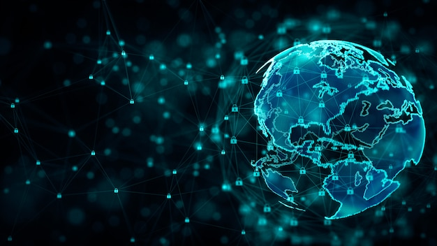 Cyber-sicherheit und schutz des informationsnetzwerks mit schlosssymbol.