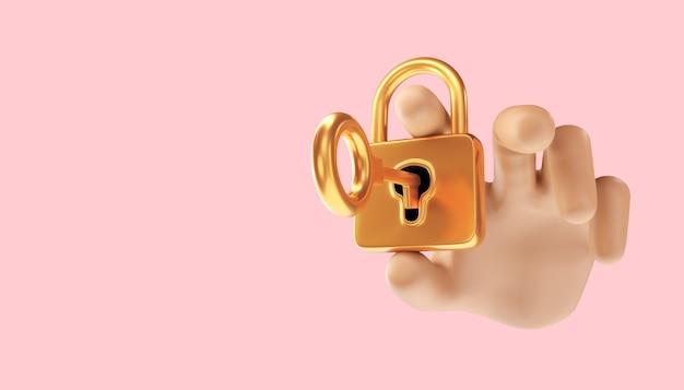 Cyber-sicherheitsdatenschutz-business-technologie-datenschutzkonzept. 3d-darstellung