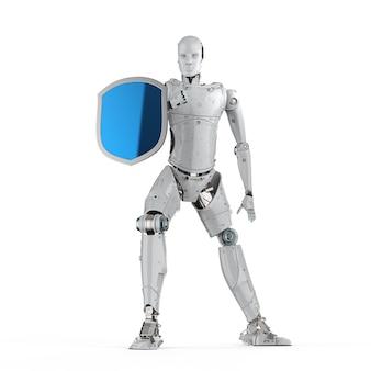 Cyber-sicherheitskonzept mit schildschutz mit roboter