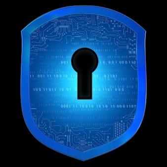 Cyber-sicherheitskonzept mit schildschutz mit vorhängeschloss