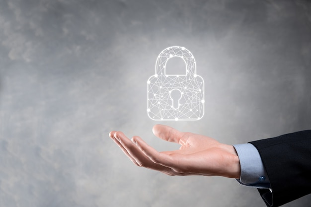Cyber-sicherheitsnetzwerk. vorhängeschloss-symbol und internet-technologie-netzwerk.