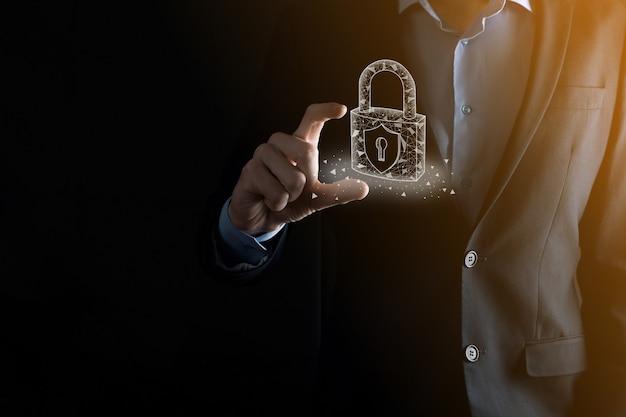 Cyber-sicherheitsnetzwerk. vorhängeschloss-symbol und internet-technologie-netzwerk