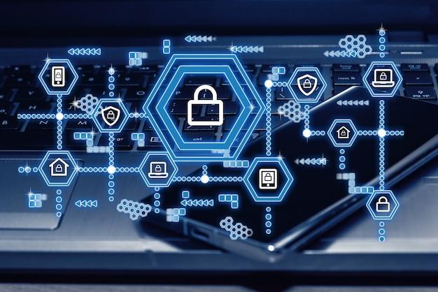 Cyber-sicherheitsnetzwerk. vorhängeschloss-symbol und internet-technologie-vernetzung. datenschutzkonzept. dsgvo. eu.