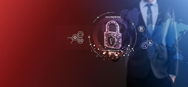 Cyber-sicherheitsnetzwerk. vorhängeschloss-symbol und internet-technologie-vernetzung. geschäftsmann, der daten schützt