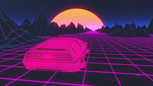 Cyberpunk-auto im 80er-jahre-stil bewegt sich auf einer virtuellen neon-landschaft. 3d-rendering.