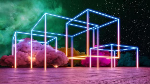 Cyberpunk-virtual-reality-landschaft 3d-rendering