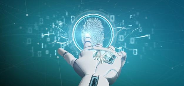 Cyborg, der eine digital-fingerabdruckidentifikation und eine wiedergabe des binärcodes 3d hält