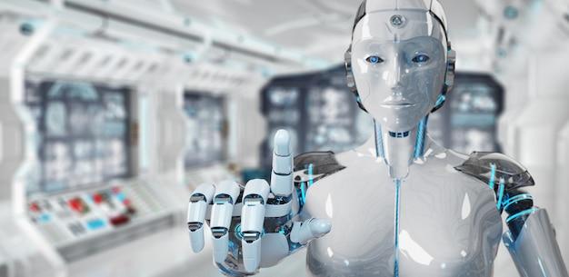 Cyborg der weißen frau, der ihren finger zeigt