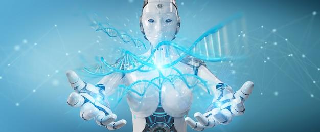 Cyborg der weißen frau, der menschliche dna scannt