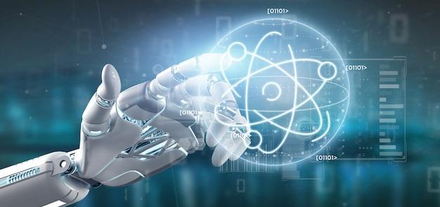 Cyborg hält ein atom-symbol, umgeben von daten