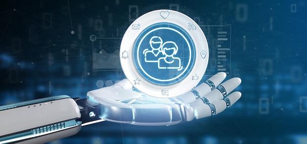 Cyborg-hand, die eine social media-netzkontaktikone hält